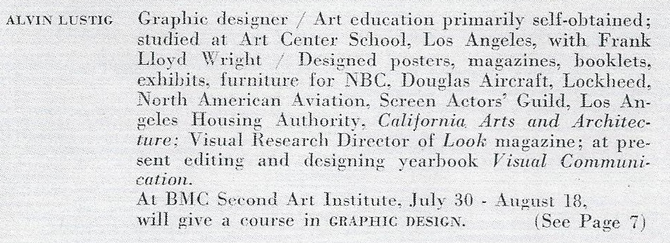 Fig. 2 Alvin Lustig biography, Black Mountain College Bulletin Art Institute, Summer 1945. Black Mountain College Museum + Arts Center Collection, D.H. Ramsey Library, University of North Carolina Asheville.