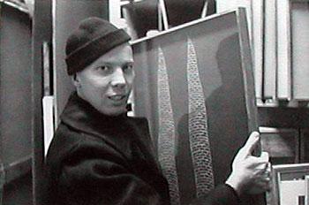 Raymond Edward Johnson (1927–1995), collagist and correspondence artist. Photograph by William S. Wilson, circa 1968.